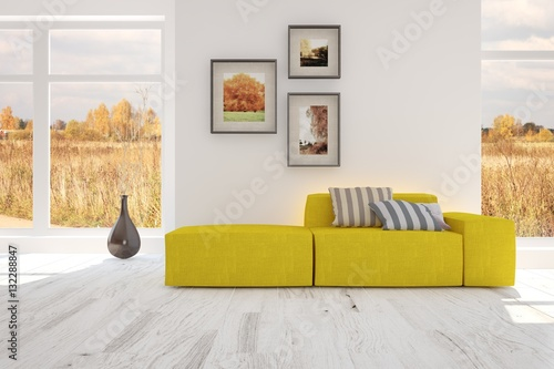 White Room With Yellow Sofa Scandinavian Interior Design