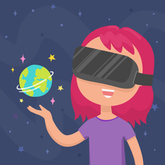 Girl holding planet Earth at her hand in a virtual reality glasses. Vector cartoon illustration