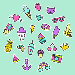 Set of pop art signs, pins, stickers. Heart, diamond, anchor, fruits, ice creams. Vector hand drawn illustration in a funny retro style