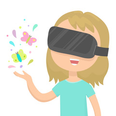 Girl looking at the bright butterflies on her hand in a virtual reality glasses. Vector cartoon illustration