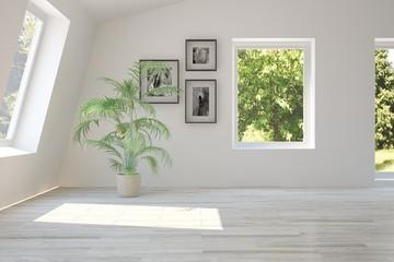 White empty room with green landscape in window. Scandinavian interior design