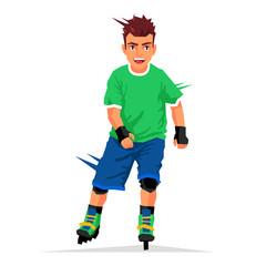 Cool handsome guy rides on roller skates
