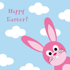 Happy Easter with fun pink rabbit and blue sky