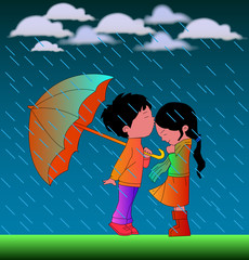 """Romantic Cartoon Couple In Rain"" Vector illustration with nice background."