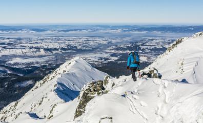 On the snow ridge.