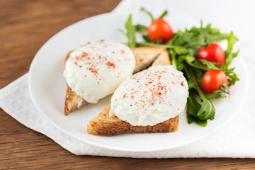the poached eggs