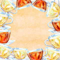 Frame of a glass cup. Black and green tea. Watercolor hand drawn illustration.Orange background.