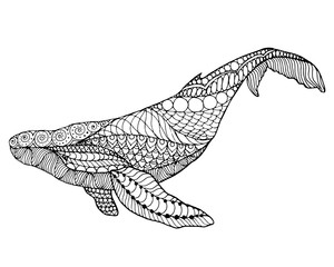 Zentangle stylized whale