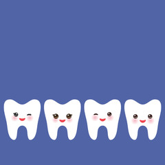 Smiling tooth card design, template for text, dark blue background. Vector