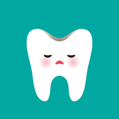 sad tooth with tooth decay on blue background. Vector