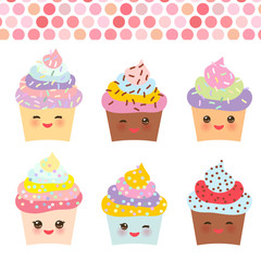 Card design with Cupcake Kawaii funny muzzle with pink cheeks and winking eyes,  pastel colors on white background. Vector