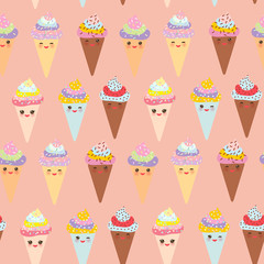 seamless pattern Kawaii funny Ice cream waffle cone, muzzle with pink cheeks and winking eyes, pastel colors on white background. Vector