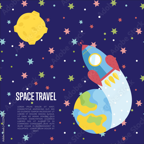Space travel cartoon web template spaceship flying from for Outer space travel