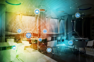 modern room interior and internet of things, conceptual abstract image