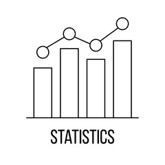 Statistics icon or logo line art style.