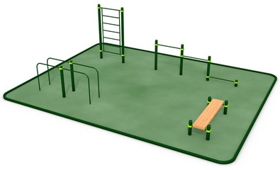 Outdoor fitness equipment for workout in public park. 3D rendering