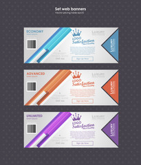 Set horizontal tariffs banners. interface for the site. ui ux vector banner for web app. Voucher pricing table, banner, order, box, button, list and bullet with plan for website in flat design