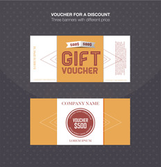 Gift voucher template. Discount card, cash coupon, gift certificate. Vector illustration.