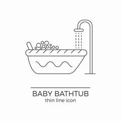 Baby bath vector line icon