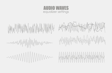 set audio equalizer technology, pulse musical. Audio equalizer sound wave display horizontal. abstract isolated vector illustration