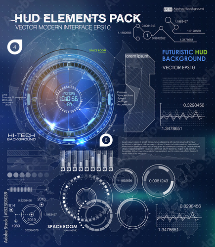 Hud background outer space infographic elements for Outer space elements