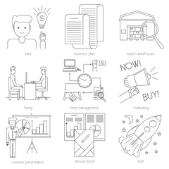 Business icons in modern line style