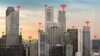 IOT and Smart City Concept Illustrated by Wireless Networking and Wifi Icon Fotoväggar