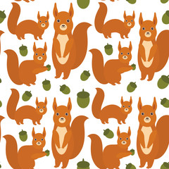 Seamless pattern Set of funny red squirrels with fluffy tail with acorn isolated on white background. Vector