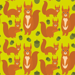 Seamless pattern Set of funny red squirrels with Gopher ground squirrel fluffy tail with acorn on green background. Vector