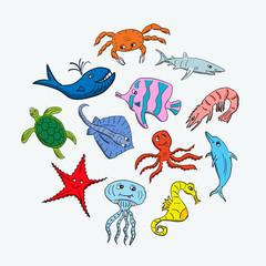 Cute hand drawn cartoon ocean animals