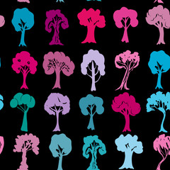 Seamless pattern Set of violet purple blue pink trees silhouettes on black background. Vector