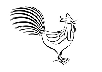 chicken character, zodiac chinese festival, chicken chinese brush drawing style, vector illustration