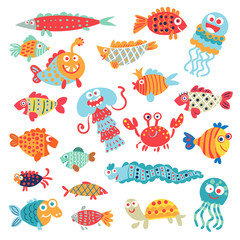 Cute flat fish. Funny cartoon character