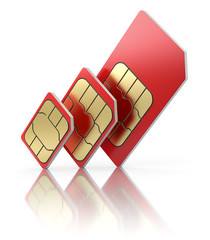 SIM card  in different sizes, standard, micro and nano