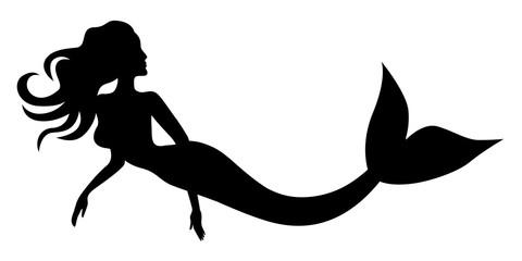 Silhouette of swimming mermaid