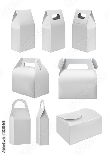 Blank White Model Cardboard Carry Package Product Container Empty Food Box Template For Branding