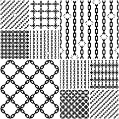Set of seamless chain patterns with broken links