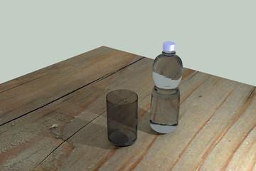 Illustration Flasche und Glas auf Holztisch