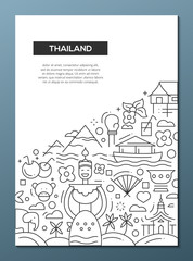 Welcome to Thailand - line design brochure poster template A4