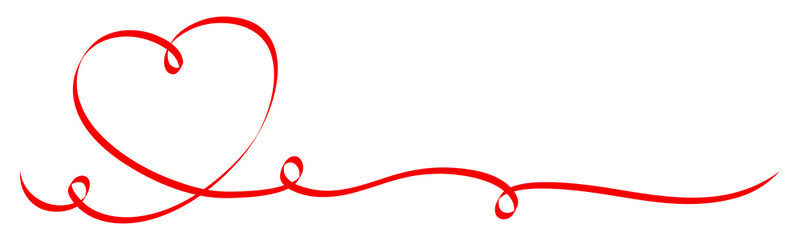 Red Heart Ribbon Calligraphy
