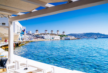 View on famous windmills of Mykonos, Greece