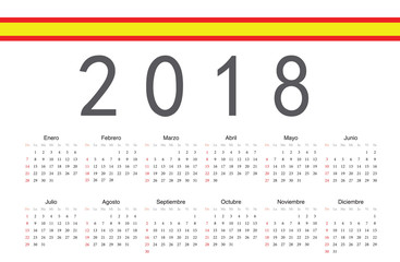 Spanish 2018 year vector calendar