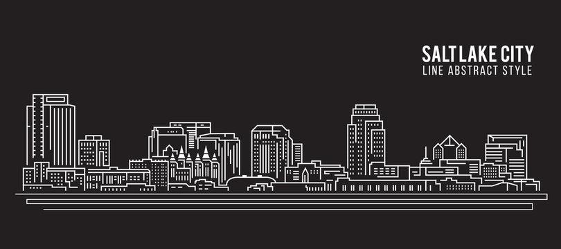 Cityscape Building Line art Vector Illustration design - Salt Lake City