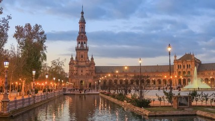 Fototapete - North tower on Plaza de Espana in the evening in Seville, Andalusia, Spain