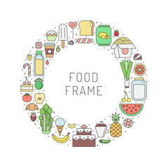 Food and drinks (grocery shop) outline circle frame. Part two.