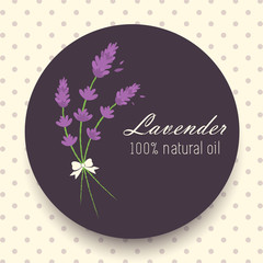 Vector Vintage Lavender Round Sticker Illustration with Ribbon on Dotted Background