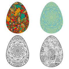 Vector illustration of Easter egg with doodle pattern. Lettering on the egg happy Easter.