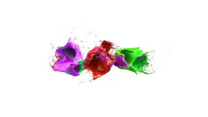 inks splashes in white background 3d illustration