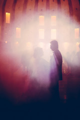 bride and groom dancing in the restaurant, abstract