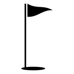 Flags of golf course icon, simple style